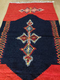 Red and Dark Blue Hand Woven Rug - Gift idea