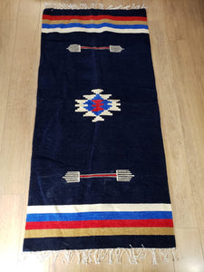 Boho Dark Blue Handmade Rug - Gift idea