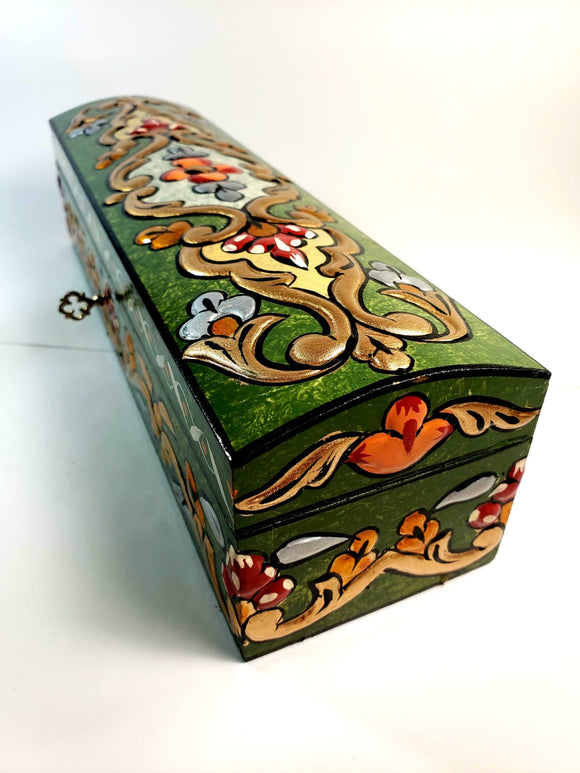 Green Small Hand Painted 3D Design Jewelry Box - Gift idea
