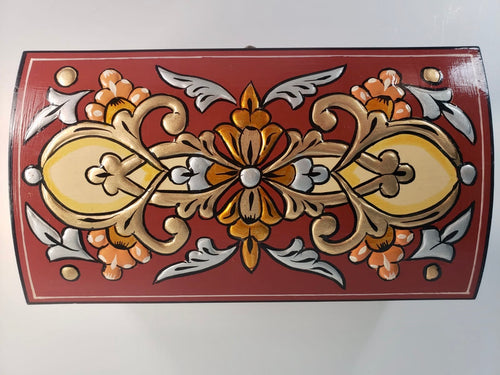 Burgundy Hand Painted Wooden Box with 3D Floral Design - Gift idea