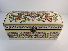 Load image into Gallery viewer, Ivory Hand Painted Wooden Box with 3D Floral Design - Gift idea