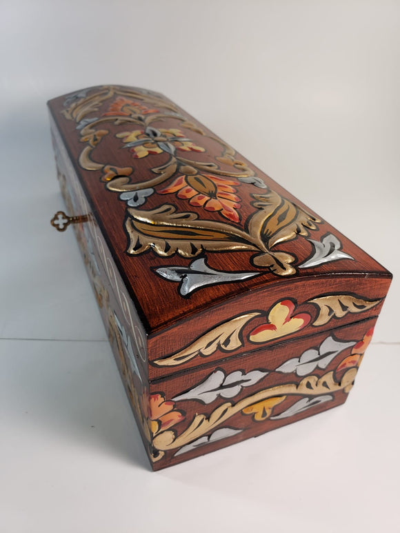 Burgundy Medium Hand Painted 3D Jewelry Box - Gift idea