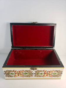 Ivory Hand Painted Wooden Box with 3D Floral Design - Gift idea