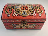 Small Bombeh Hand Painted Wooden Box with 3D Floral Design - Gift idea