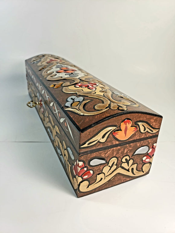 Brown Small Hand Painted 3D Design Jewelry Box - Gift idea