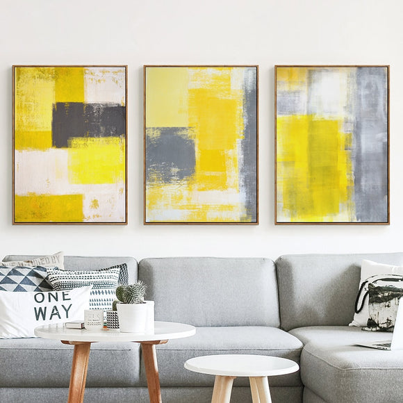 Abstract Yellow Gray and White Canvas - Gift idea