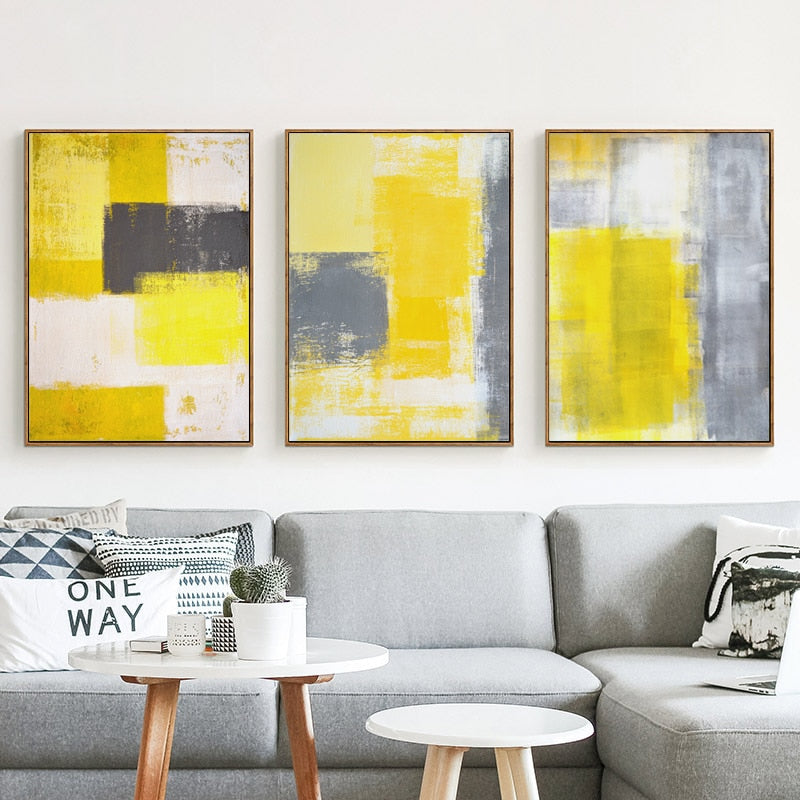 Abstract Yellow Gray and White Canvas