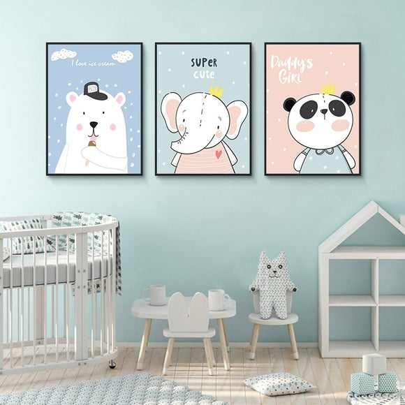 Baby Nursery Wall Art Canvas (Cartoon Elephant Bear Panda) - Gift idea
