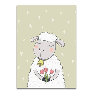 Cartoon Nursery Canvas (Elephant/ Sheep/ Rabbit) - Gift idea