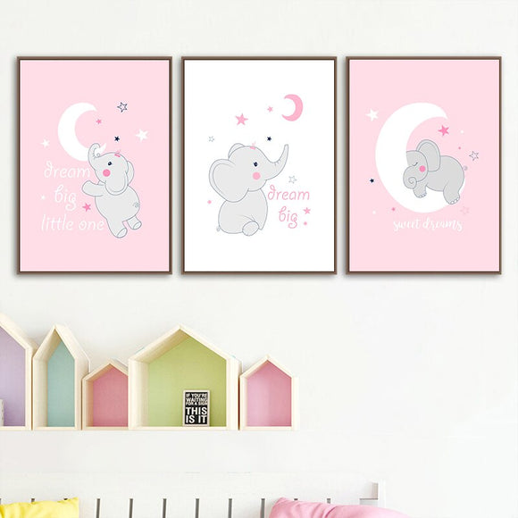 Baby Nursery Wall Canvas Painting (Cute Pink Elephant) - Gift idea