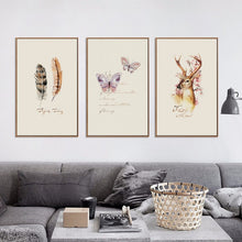 Load image into Gallery viewer, Nostalgic Retro Canvas (Butterflies Feathers Deer) - Gift idea
