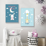 Canvas Nursery Room Decoration (Bear Giraffe Rabbit) - Gift idea