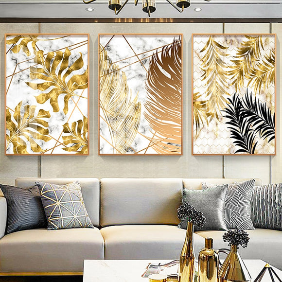 Nordic Style Golden Leaves Painting - Gift idea