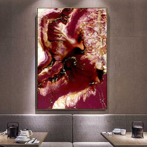 Blue Floral Red Marble Landscape Canvas - Gift idea