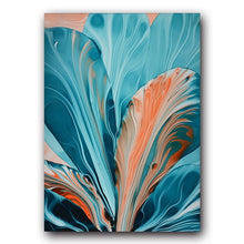 Load image into Gallery viewer, Blue Floral Red Marble Landscape Canvas - Gift idea