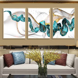 Nordic Abstract Blue & Golden Canvas - Gift idea