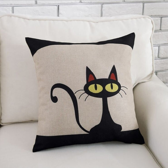 Cute Black Cat Print Pillow Cover - Gift idea