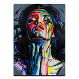Colorful Woman Abstract Canvas Painting - Gift idea