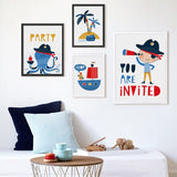 Cartoon Pirate Party  Canvas Painting - Gift idea