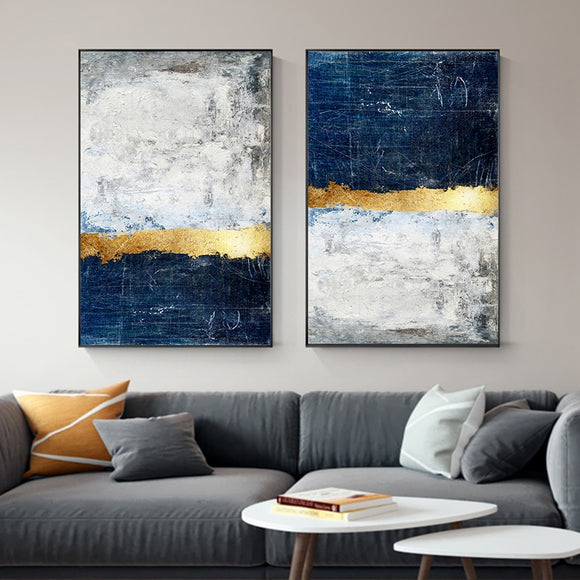 Abstract Gold Navy Modern Canvas - Gift idea