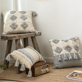 Ivory Grey Diamond/Stripe Moroccan Style Cushion Covers - Gift idea