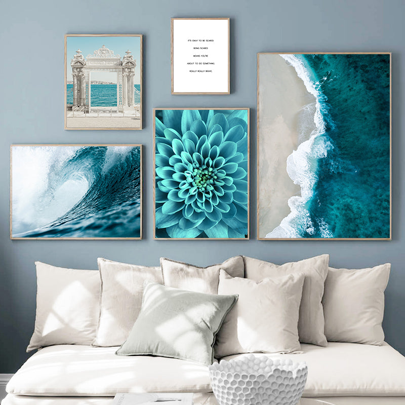 Life Quote, Flower, Sea Landscape Canvas Painting