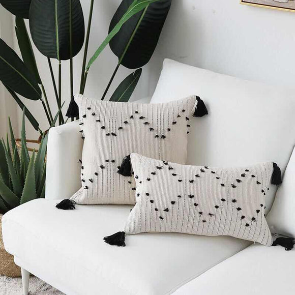 Woven Tassels Pillow Cover - Gift idea