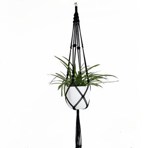 Handmade Black Macrame Pot Hanger - Gift idea