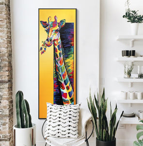 Colored Giraffe Canvas Poster - Gift idea