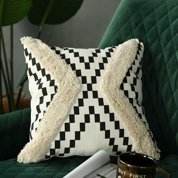 Woven Tufted pillow cover Moroccan Style Handmade - Gift idea