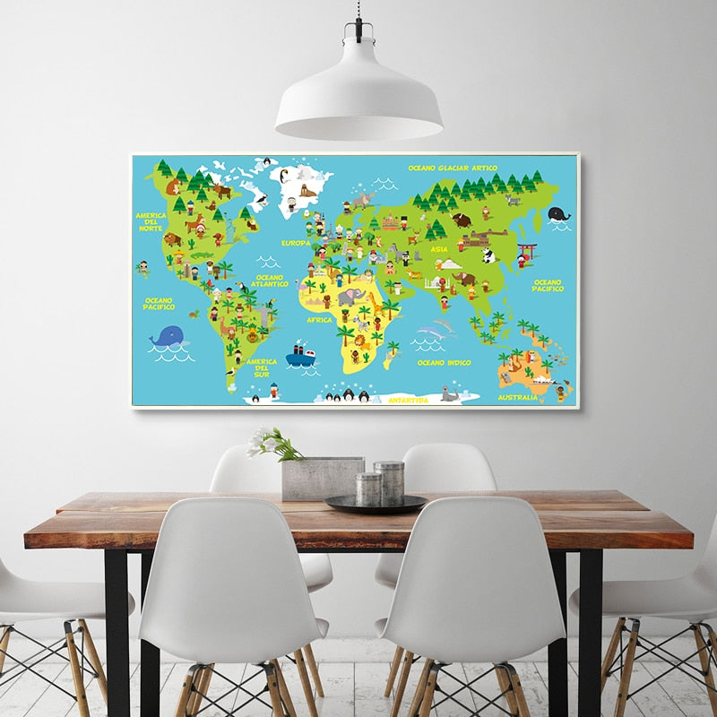 Animals World Map Canvas Painting