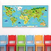Load image into Gallery viewer, Animals World Map Canvas Painting - Gift idea