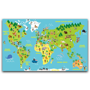Animals World Map Canvas Painting - Gift idea