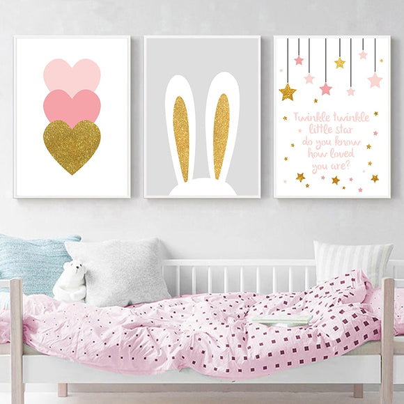 Pink Heart Cartoon Rabbit Nursery Quotes - Gift idea