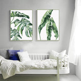 Watercolor Plant Green Leaves Canvas - Gift idea