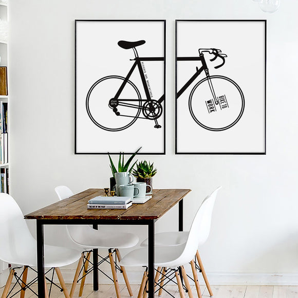 Modern Simple Bicycle Inspirational Black And White Canvas - Gift idea