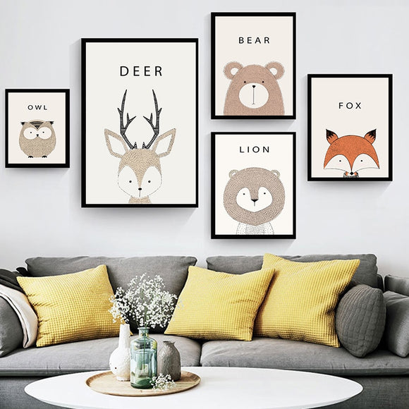Modern Cute Cartoon Animals Canvas - Gift idea