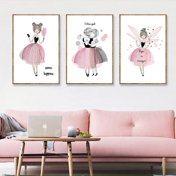 Cute Cartoon Watercolor Girl Poster - Gift idea