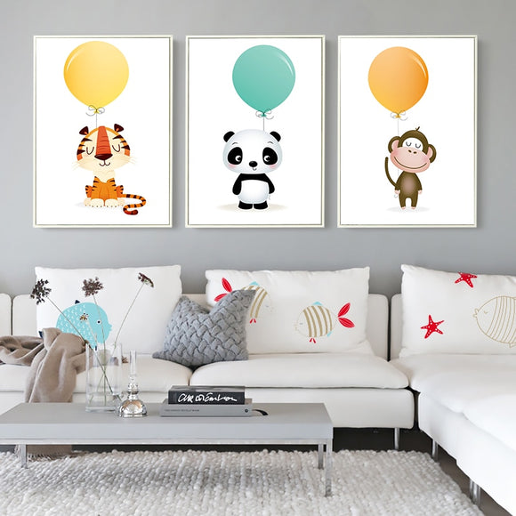 Balloon Panda Monkey Tiger Animal Canvas - Gift idea