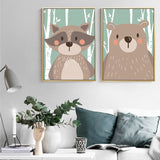 Forest Animals Canvas (Raccoon/ Rabbit/ Fox/ Bear) - Gift idea