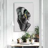 Abstract Feather Tribal Girl Canvas - Gift idea