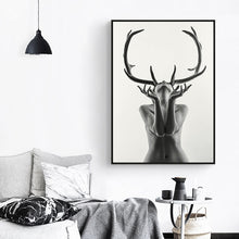 Load image into Gallery viewer, Simple Black and White Antlers Woman Model - Gift idea