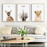 Baby Animals Canvas Art Painting (Giraffe/ Zebra/ Elephant/ Lion Cub) - Gift idea