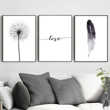 Load image into Gallery viewer, Black & White Dandelion Feather Love - Gift idea