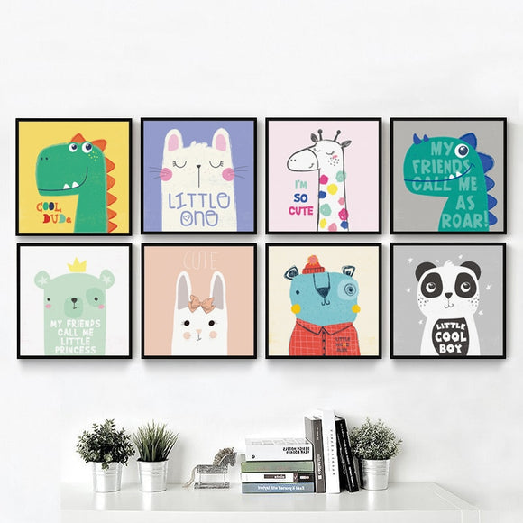 Cartoon Animals Canvas Baby Room - Gift idea