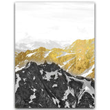 Golden Snow Mountain Canvas Painting - Gift idea