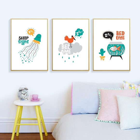Cute Cartoon Fish, Jellyfish Canvas Print - Gift idea