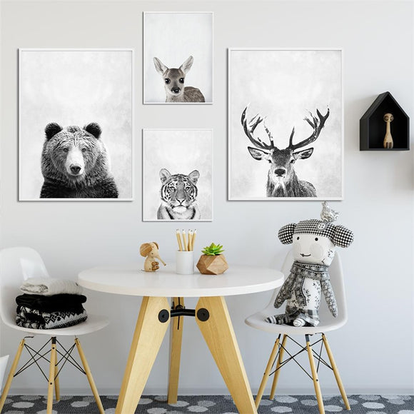 Modern Animals (Tiger/ Bear/ Deer/ Buck) Canvas - Gift idea