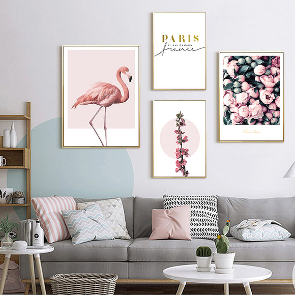 Pink Flamingo/ Flowers Wall Art Canvas - Gift idea