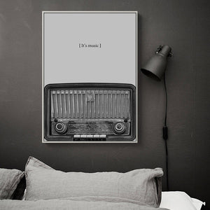 Nostalgic Black & White Guitar Radio CD Wall Art - Gift idea